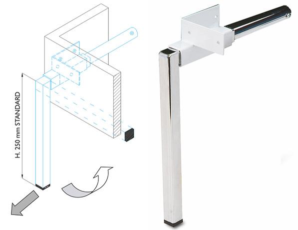 PTL400 - поворотно откидные ножки для шкафа кровати